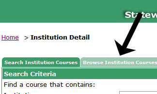 Display of the Browse Institution Courses tab