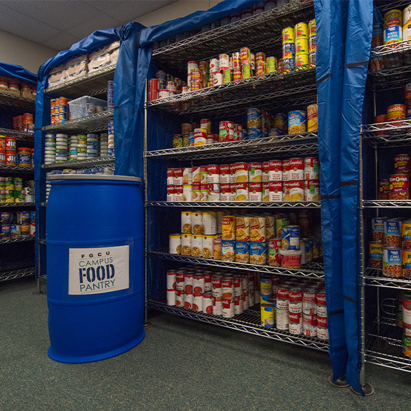 campus food pantry shelves