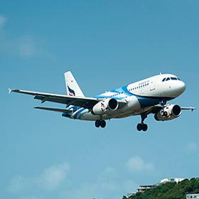 an airplane approaching landing