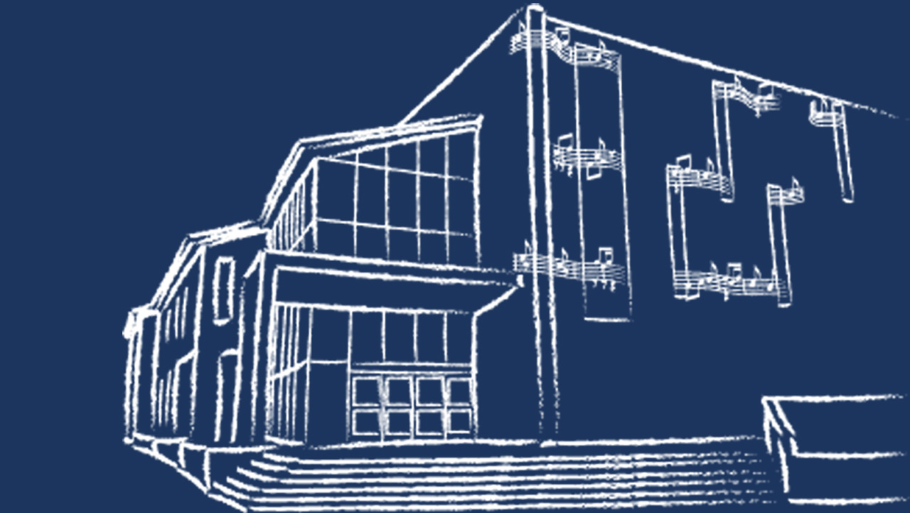 Drawing of Music Building
