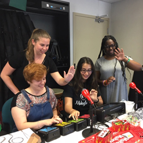 Music Therapy students with technology