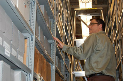 MA student working in archives