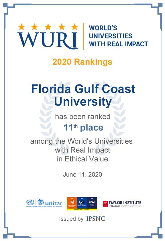 FGCU ranked 11th place among the World's Universities with Real Impact in Ethical Value