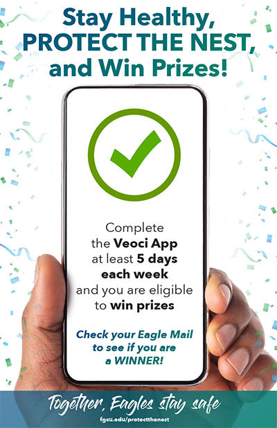 Protect the Nest phone graphic - Complete the Veoci app at least 5 days each week to be eligible for prizes.