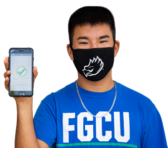 FGCU Student showing a green mark