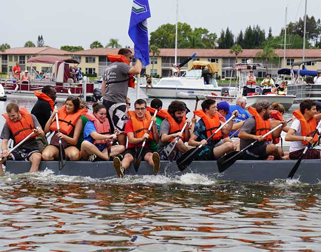 Photo of cardboard regatta by FGCU engineering students.
