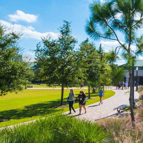 Students walking along path