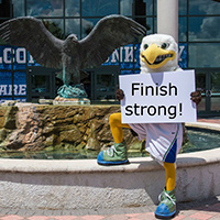 Azul holding sign up- Finish Strong!
