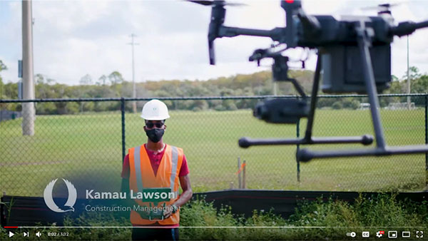 Kamau Lawson using drone for 3D modeling