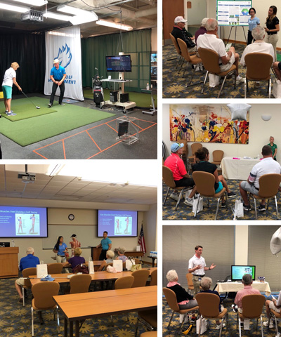 Golfing collage of students playing golf and learning about golf