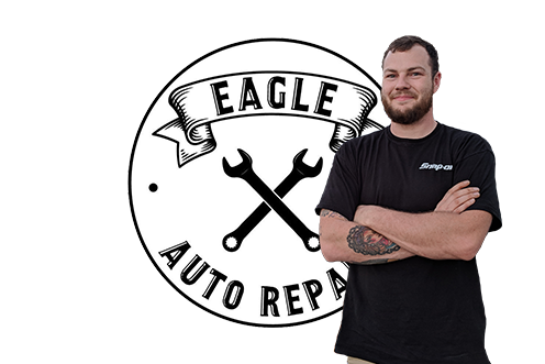 Corey Umstott and logo for his business Eagle Auto Repair