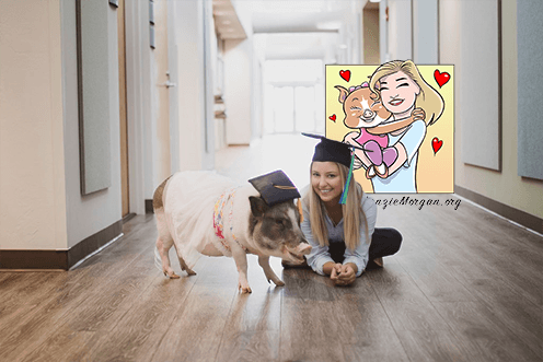 Makenzie Whitaker and Olive the Pig creator of Kidney Kronicles