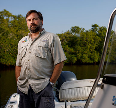 Photo of Mike Parsons on boat