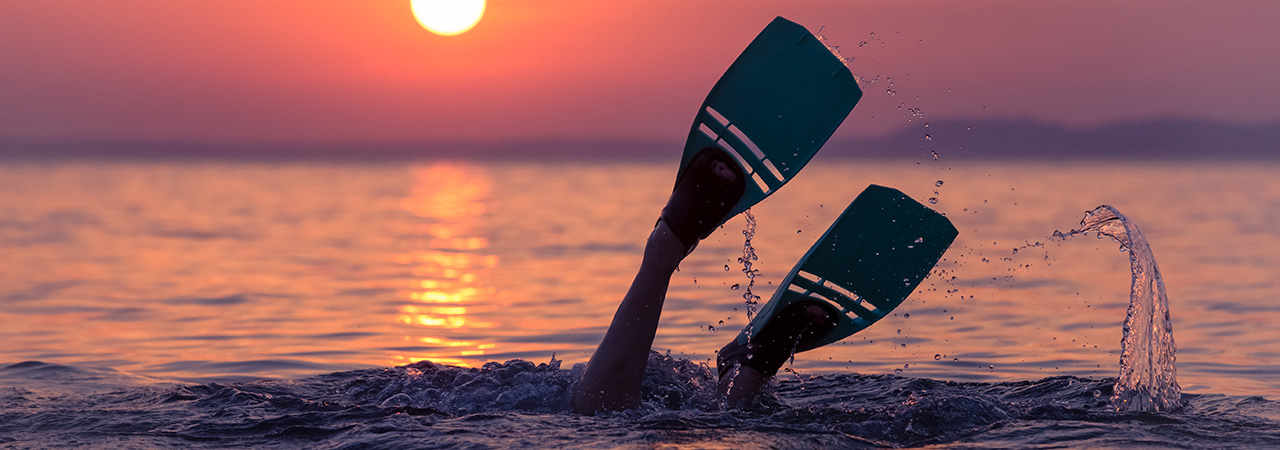 Photo of FGCU diver at sunset